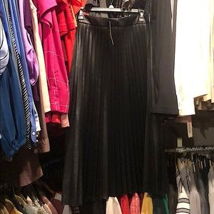 NWT black faux leather accordion skirt!